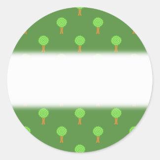 Green Tree Pattern. Round Sticker