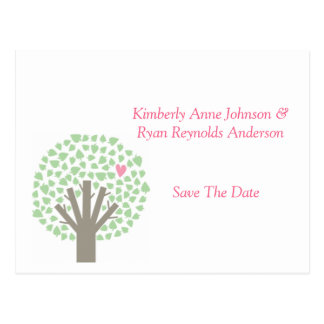 Green Tree Pink Hearts Save The Date Postcard