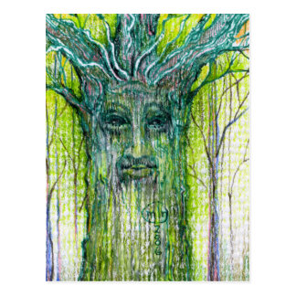 Green Tree Spirit Drawing Postcard
