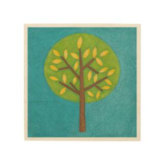Green Tree with Yellow Leaves by Chariklia Zarris Wood Print