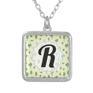 Green Trees Pattern Watercolor Tree Design Spring Silver Plated Necklace
