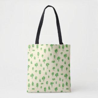 Green Trees Pattern Watercolor Tree Design Spring Tote Bag