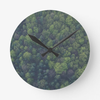 Green Trees Round Clock