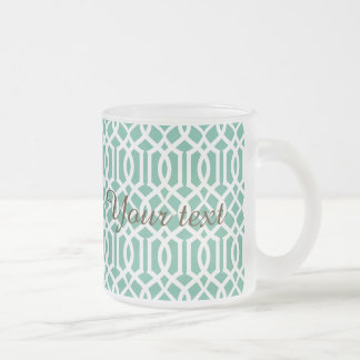 Green, trellis,moroccan,pattern,trendy,girly,fun, frosted glass mug