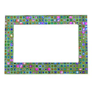 Green 'Trellis' Textured Mosaic Tiles Pattern Magnetic Photo Frames