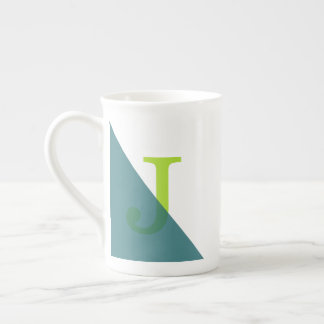 Green Triangle Simple Modern Monogram Tea Cup
