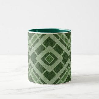 Green Triangular Print Two-Tone Mug