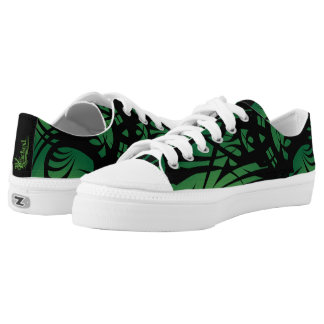 Green Tribal Canvas Sneakers