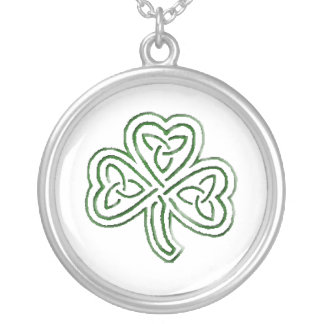 green tribal shamrock round pendant necklace