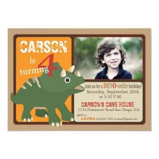Green Triceratops Dinosaur Fourth Birthday Card