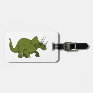 Green Triceratops Dinosaur Luggage Tag