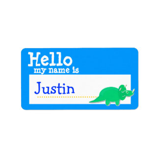 Green Triceratops Hello My Name is Badge Blue Address Label