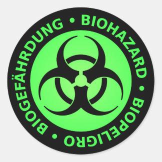 Green Trilingual Biohazard Warning Classic Round Sticker