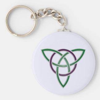 Green Trinity Knot Keychain