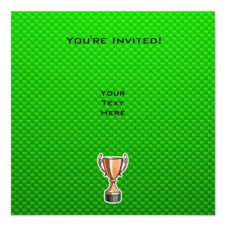 Green Trophy 13 Cm X 13 Cm Square Invitation Card