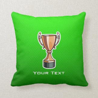 Green Trophy Throw Pillows