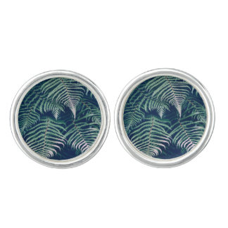 Green Tropical Fern Leaves Natural Pattern Cufflinks