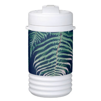 Green Tropical Fern Leaves Natural Pattern Drinks Cooler