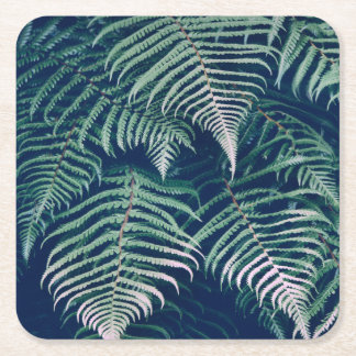 Green Tropical Fern Leaves Natural Pattern Square Paper Coaster