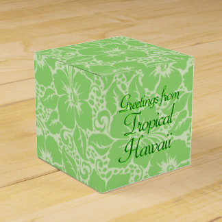 Green tropical floral favour box