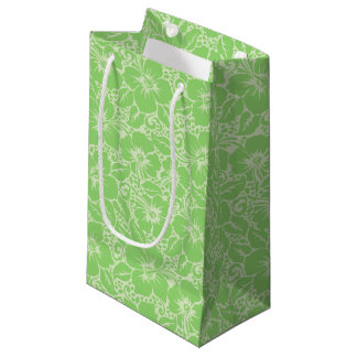 Green tropical floral small gift bag