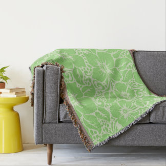 Green tropical floral throw blanket