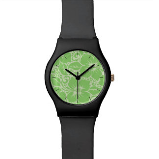 Green tropical floral watch