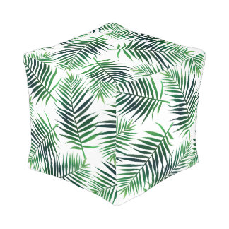 Green Tropical Island Palm Fronds Pouf