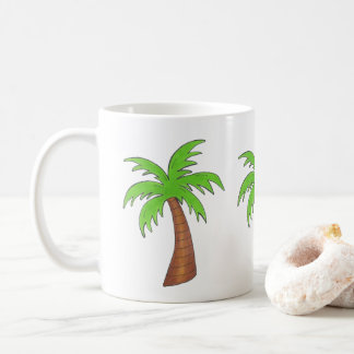 Green Tropical Island Palm Tree Beach Vacation Coffee Mug