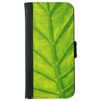 Green tropical leaf print iphone wallet case