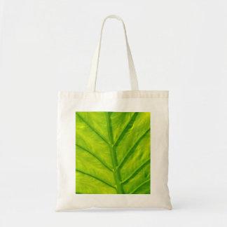 Green tropical leaf tote bag