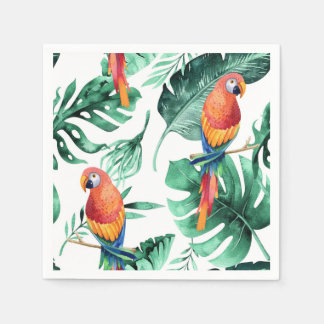 Green Tropical Leaves & Birds Summer Party Disposable Napkin