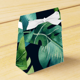 Green Tropical Leaves Black Elegant Wedding Favor Favour Box