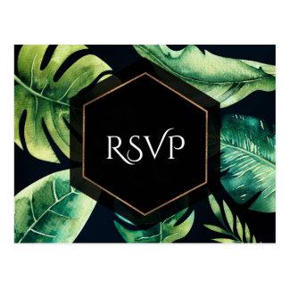 Green Tropical Leaves Black Elegant Wedding RSVP Postcard