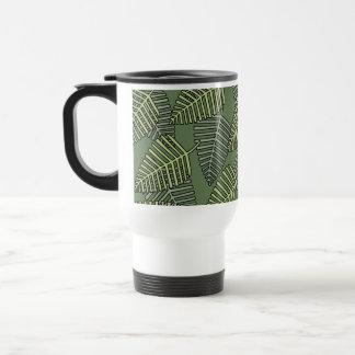 Green Tropical Leaves on Dark Green. Mugs