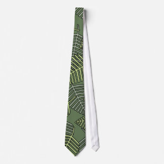 Green Tropical Leaves on Dark Green. Tie