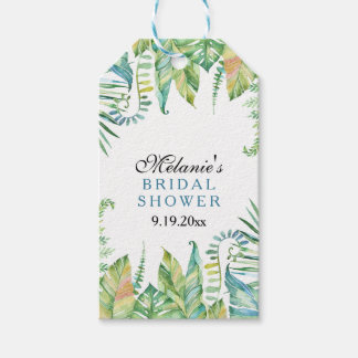 Green Tropical Leaves Watercolor Bridal Shower Gift Tags