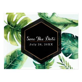 Green Tropical Leaves White Elegant Save The Date Postcard