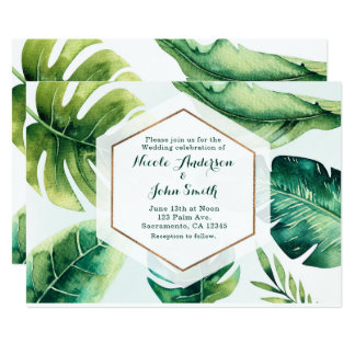 Green Tropical Leaves White Wedding Invitations
