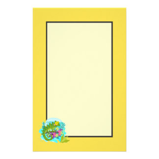Green Tropical Lizard with Flowers Stationery