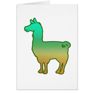 Green Tropical Llama Greeting Card