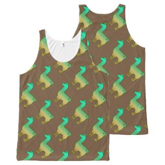 Green Tropical Llama Tank Top Pattern