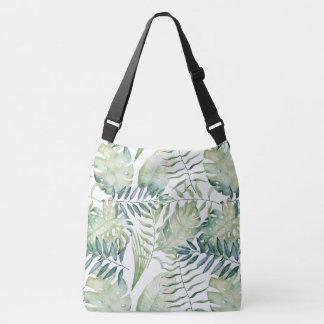 Green Tropical Palm Leaves Crossbody Bag