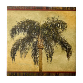 Green Tropical Palm Tree Hawaiian Vintage Palms Small Square Tile