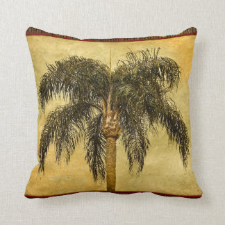 Green Tropical Palm Tree Hawaiian Vintage Palms Throw Pillow