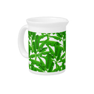 Green tropical palm trees pitcher