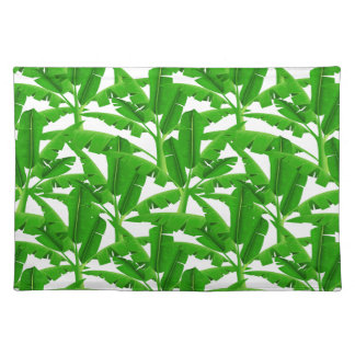 Green tropical palm trees placemat