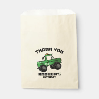 Green Truck Birthday Monster Truck Favour Bags
