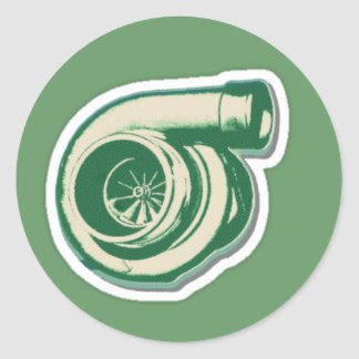 Green Turbo Classic Round Sticker