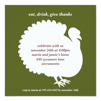 "Green turkey square Thanksgiving invitation card 5.25"" Square Invitation Card"